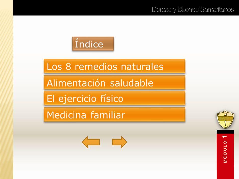 Índice Los 8 remedios naturales Alimentación saludable El ejercicio físico Medicina familiar