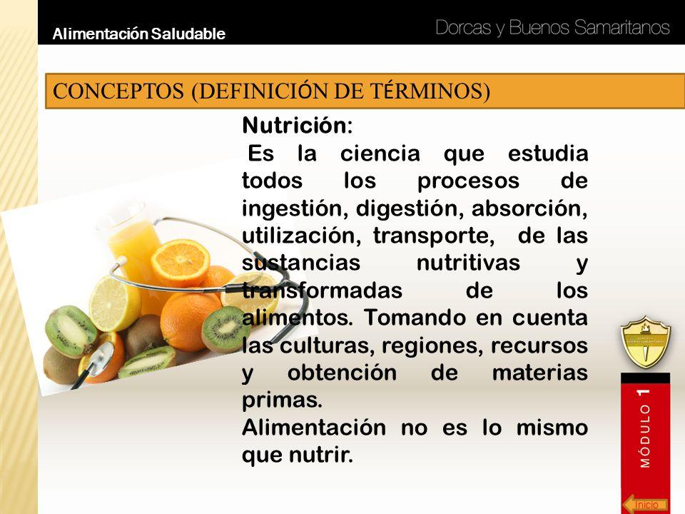 CONCEPTOS (DEFINICIÓN DE TÉRMINOS) Nutrición: