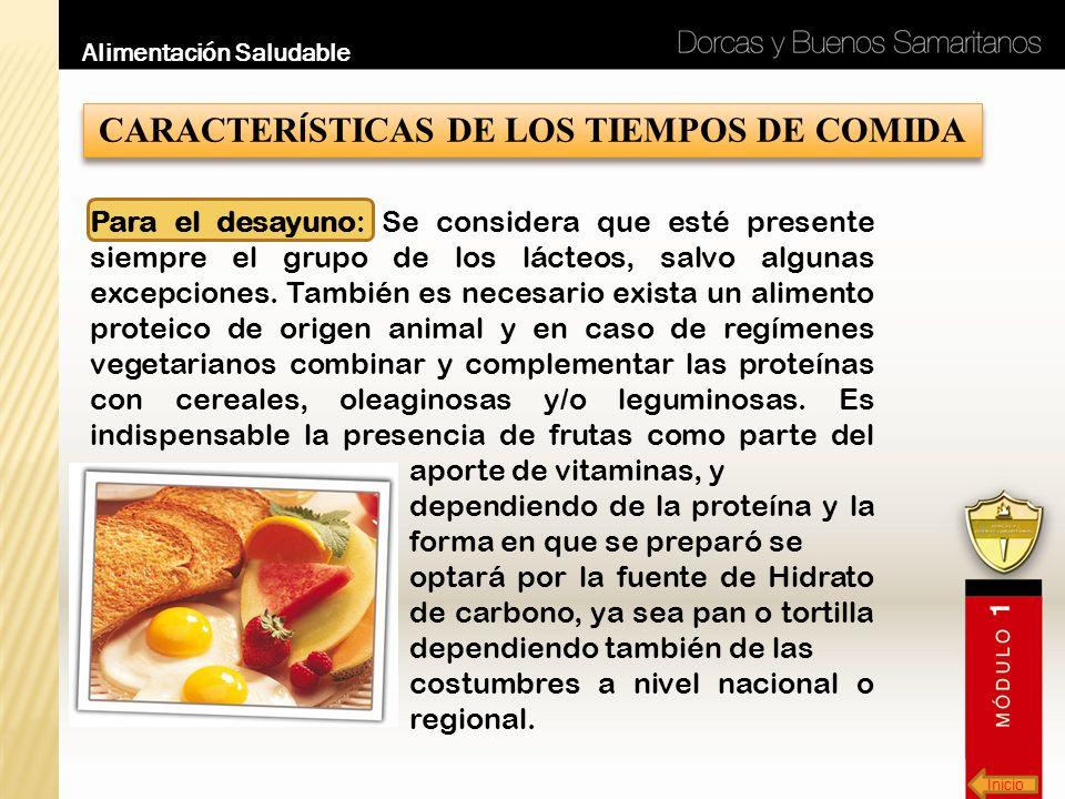 CARACTERÍSTICAS DE LOS TIEMPOS DE COMIDA