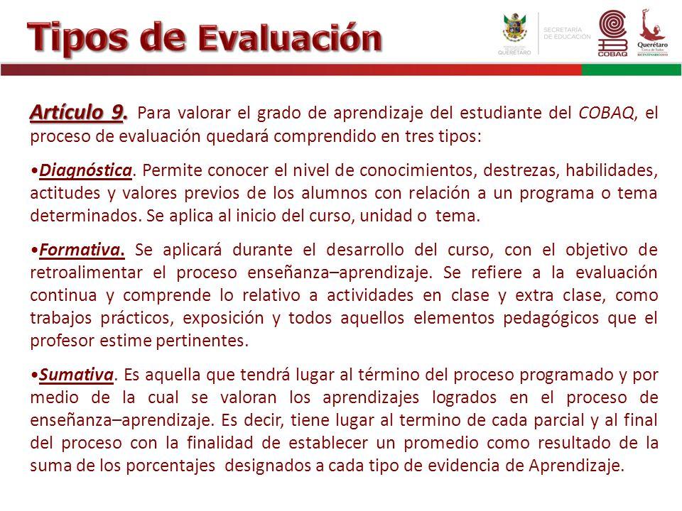 Tipos de Evaluación