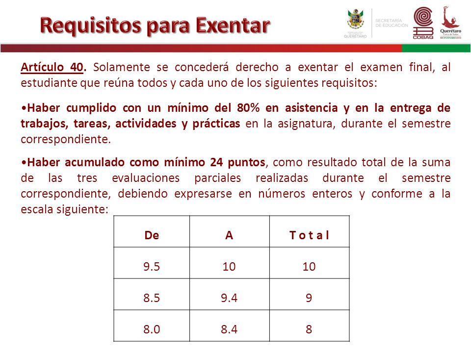 Requisitos para Exentar