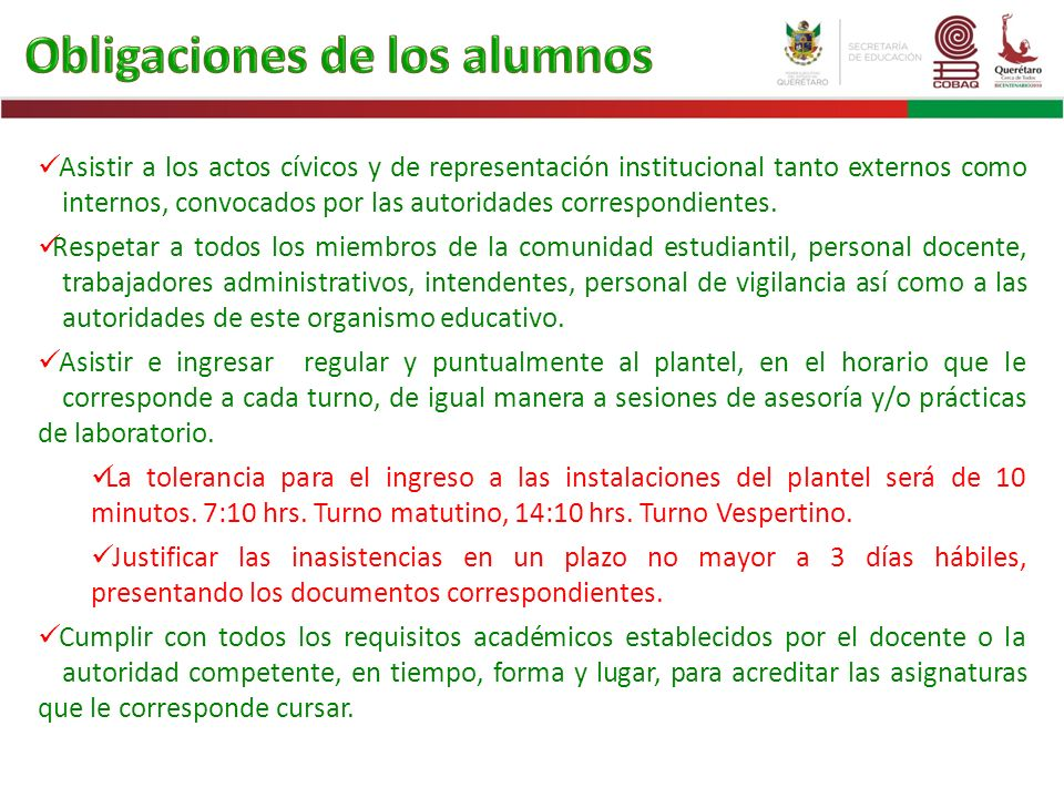 Obligaciones de los alumnos