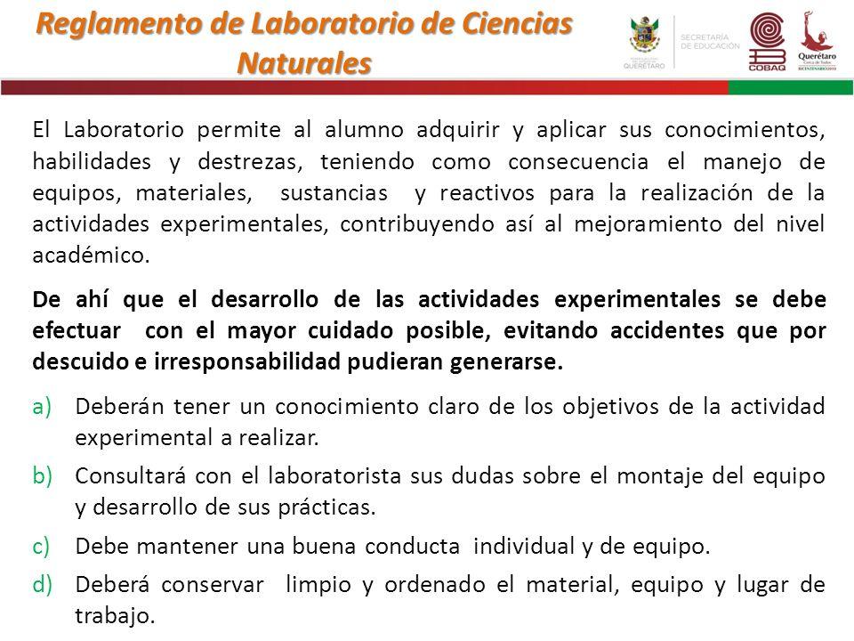 Reglamento de Laboratorio de Ciencias Naturales