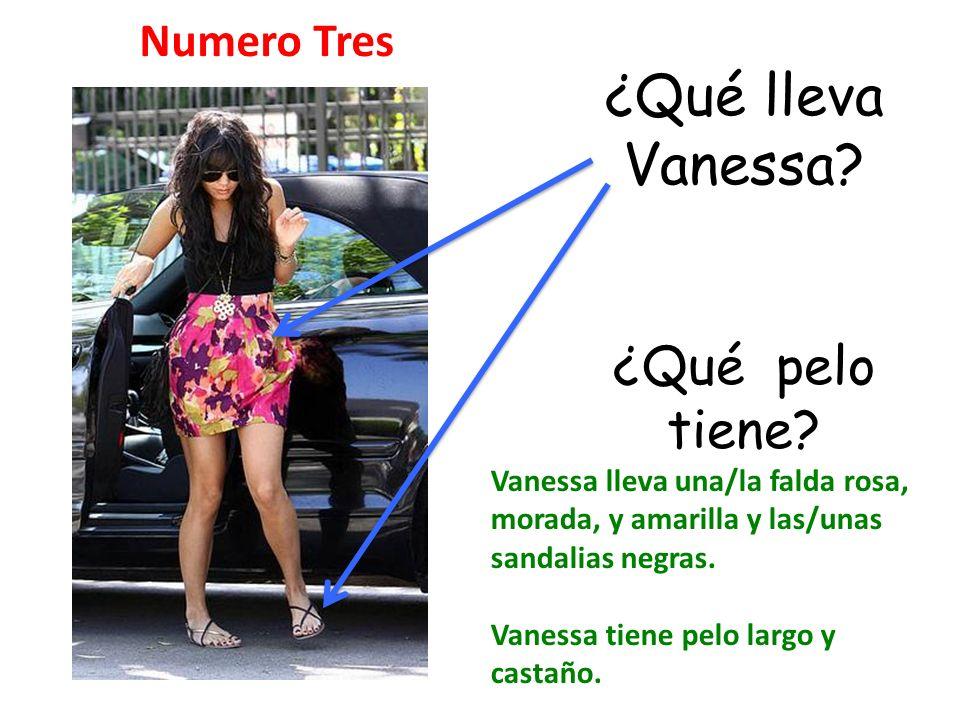 ¿Qué lleva Vanessa ¿Qué pelo tiene Numero Tres