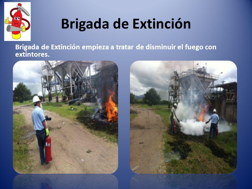 Brigada de Extinción Brigada de Extinción empieza a tratar de disminuir el fuego con extintores.