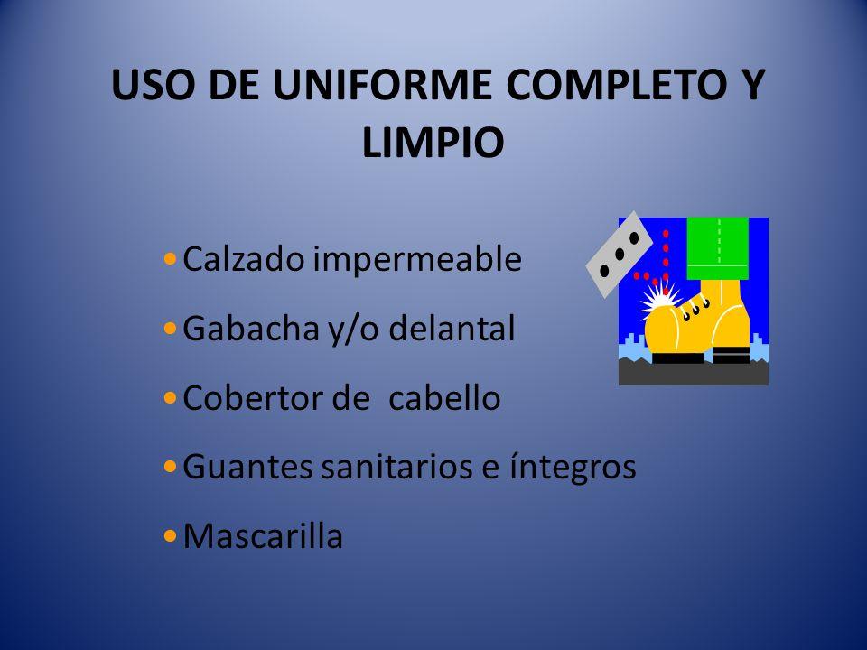 USO DE UNIFORME COMPLETO Y LIMPIO