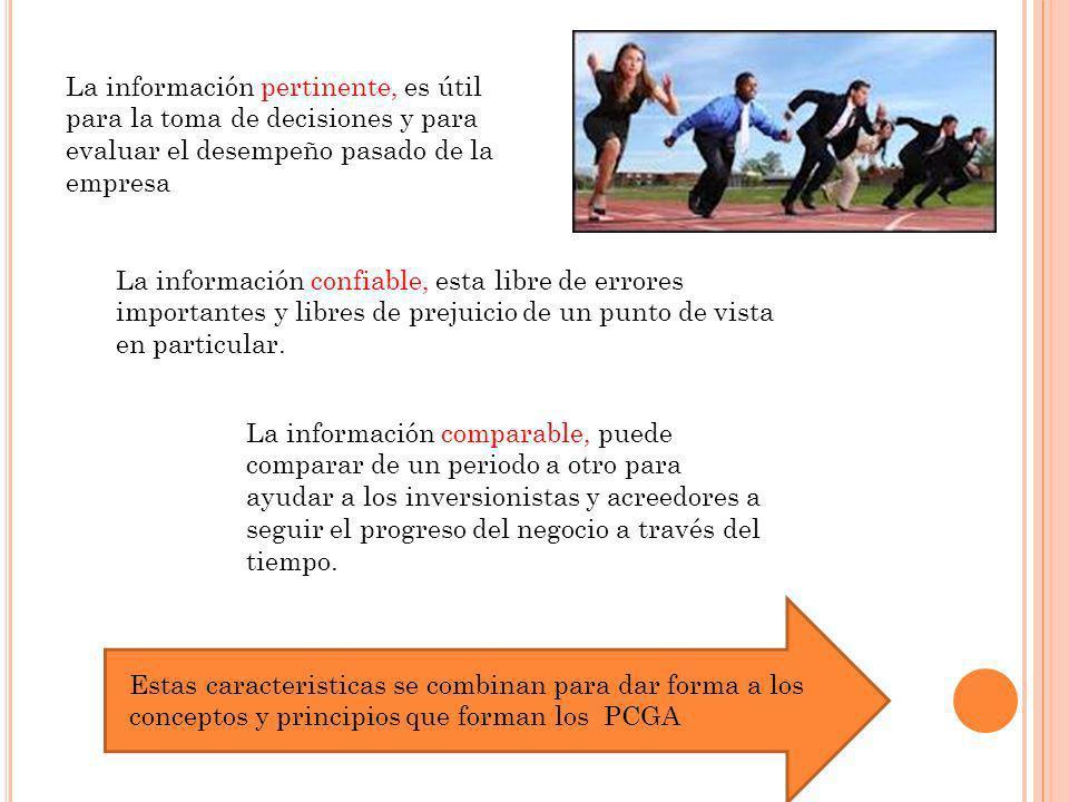 La información pertinente, es útil para la toma de decisiones y para evaluar el desempeño pasado de la empresa