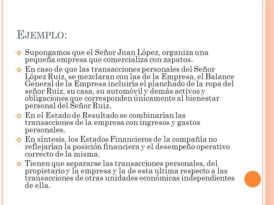 Ejemplo: Supongamos que el Señor Juan López, organiza una pequeña empresa que comercializa con zapatos.