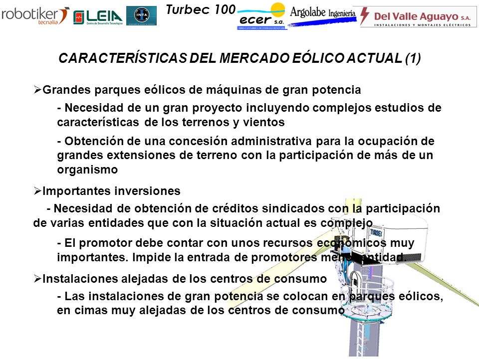 CARACTERÍSTICAS DEL MERCADO EÓLICO ACTUAL (1)