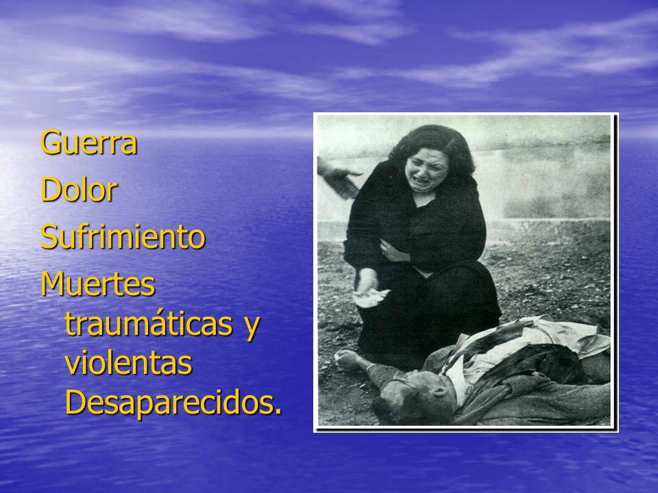 Guerra Dolor Sufrimiento Muertes traumáticas y violentas Desaparecidos.