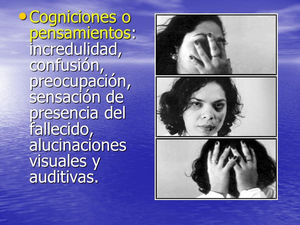 Cogniciones o pensamientos: incredulidad, confusión, preocupación, sensación de presencia del fallecido, alucinaciones visuales y auditivas.