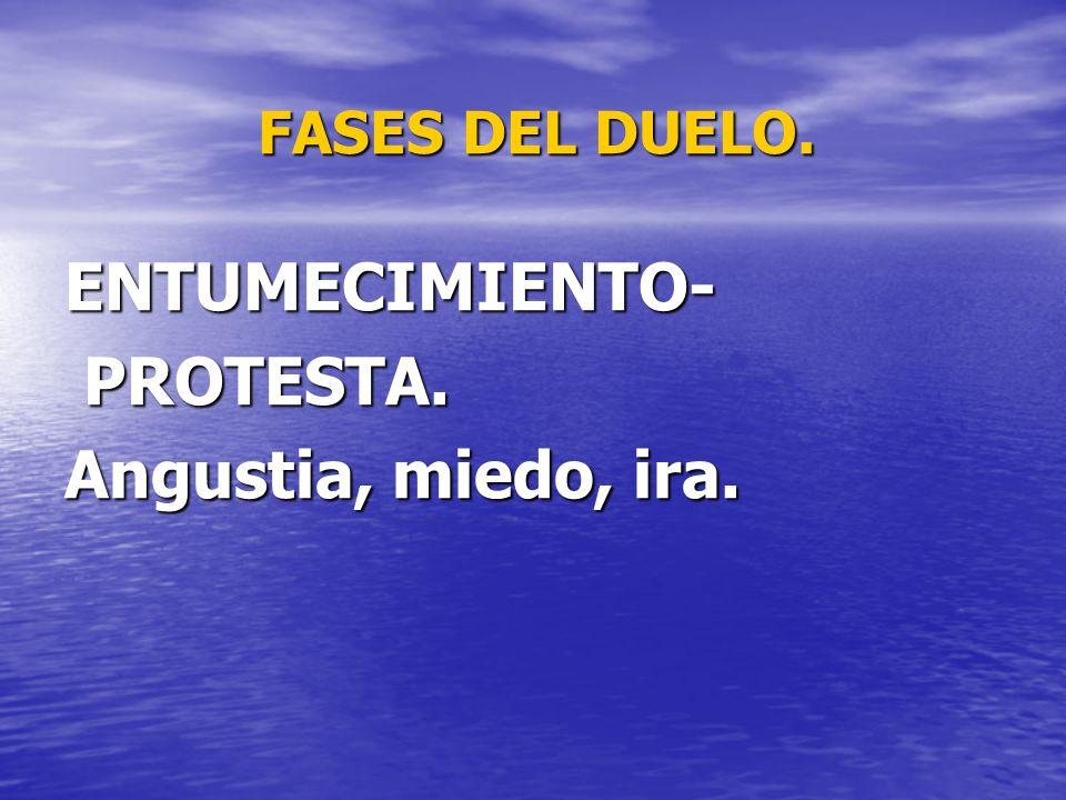 FASES DEL DUELO. ENTUMECIMIENTO- PROTESTA. Angustia, miedo, ira.