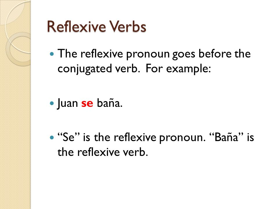 Reflexive Verbs The reflexive pronoun goes before the conjugated verb. For example: Juan se baña.