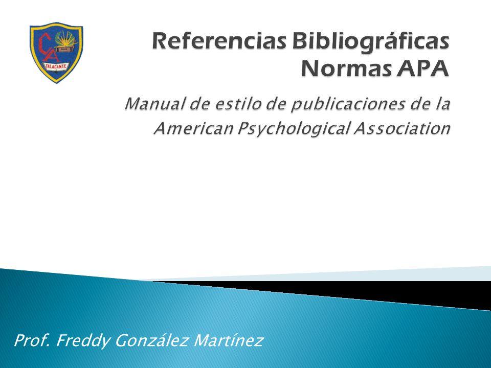 Prof. Freddy González Martínez