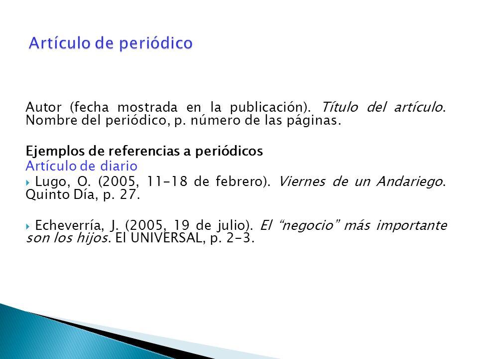 Artículo de periódico Autor (fecha mostrada en la publicación). Título del artículo. Nombre del periódico, p. número de las páginas.