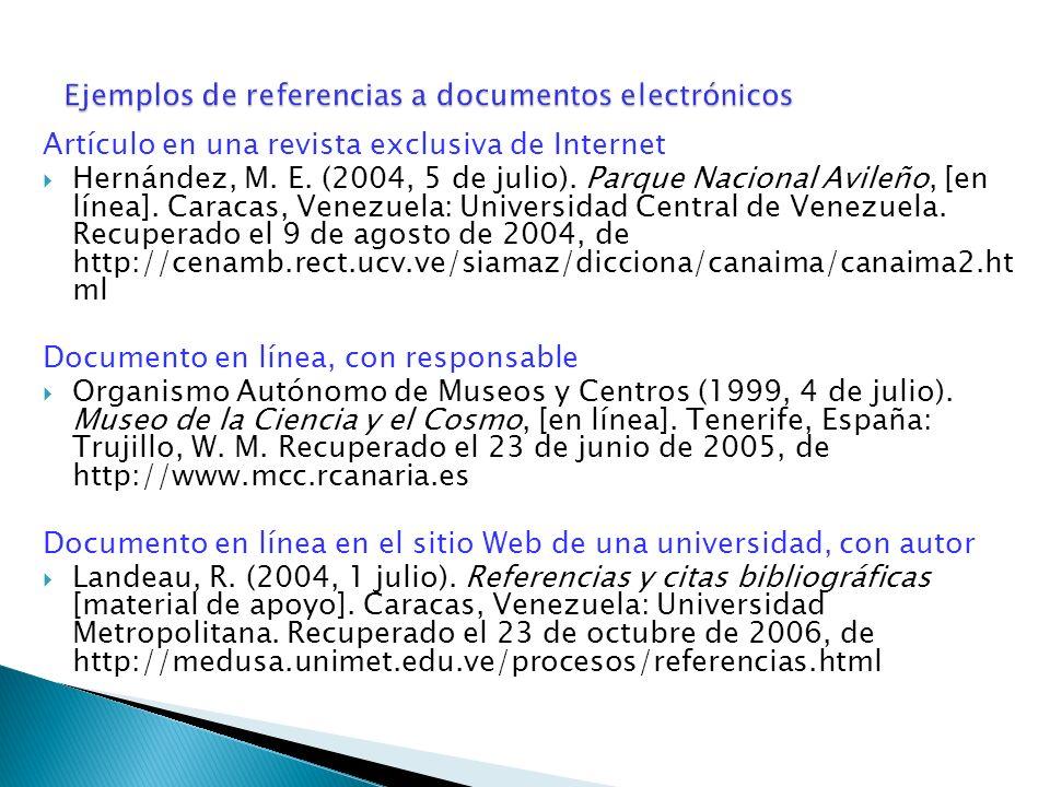Ejemplos de referencias a documentos electrónicos