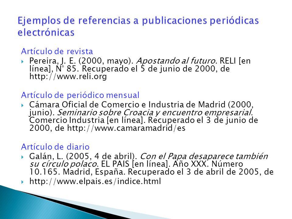 Ejemplos de referencias a publicaciones periódicas electrónicas