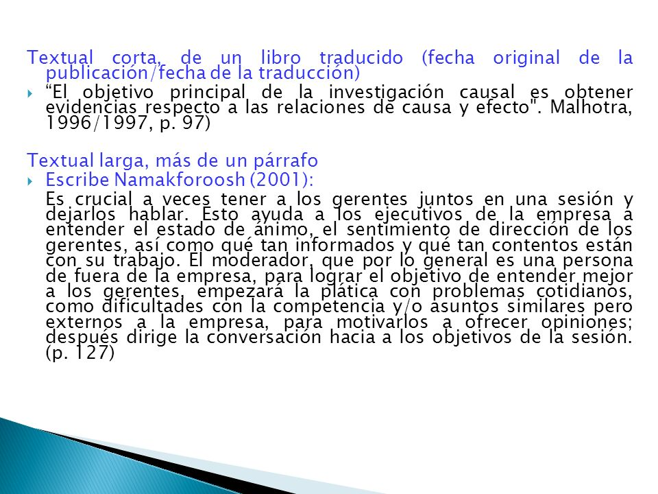 Textual corta, de un libro traducido (fecha original de la publicación/fecha de la traducción)