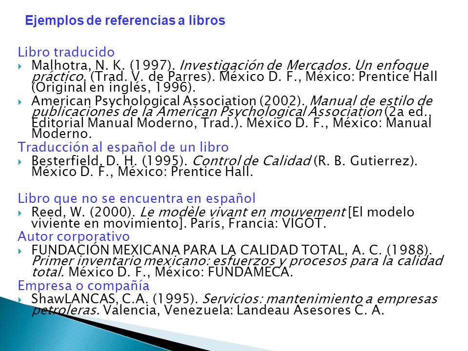 Ejemplos de referencias a libros