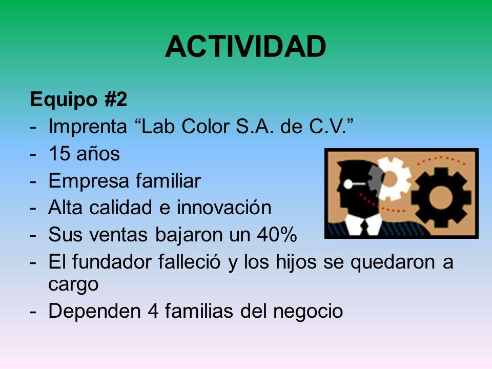 ACTIVIDAD Equipo #2 Imprenta Lab Color S.A. de C.V. 15 años