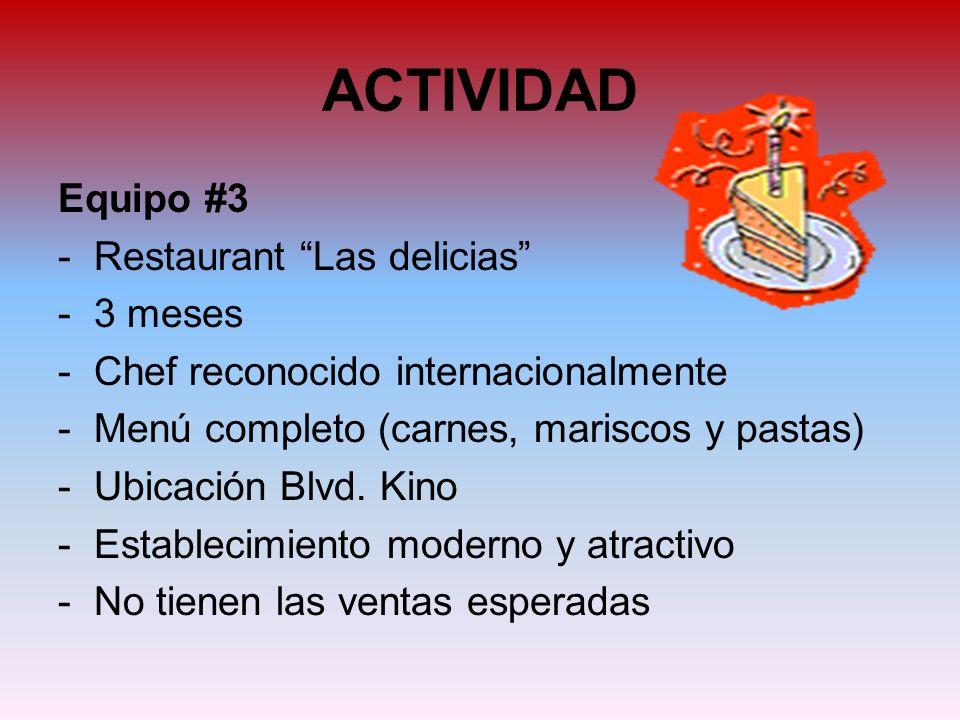 ACTIVIDAD Equipo #3 Restaurant Las delicias 3 meses