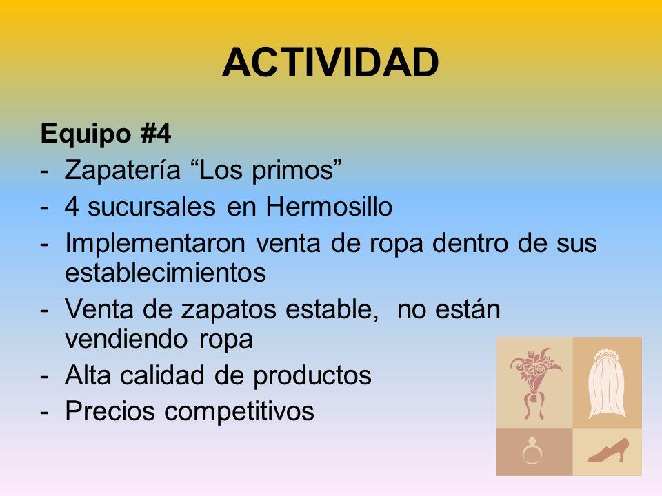 ACTIVIDAD Equipo #4 Zapatería Los primos 4 sucursales en Hermosillo