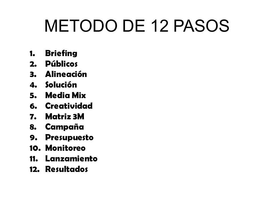 METODO DE 12 PASOS Briefing Públicos Alineación Solución Media Mix