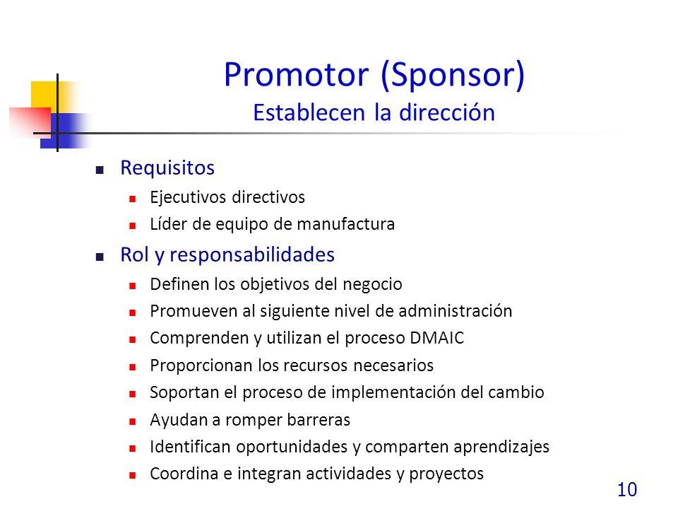 Promotor (Sponsor) Establecen la dirección