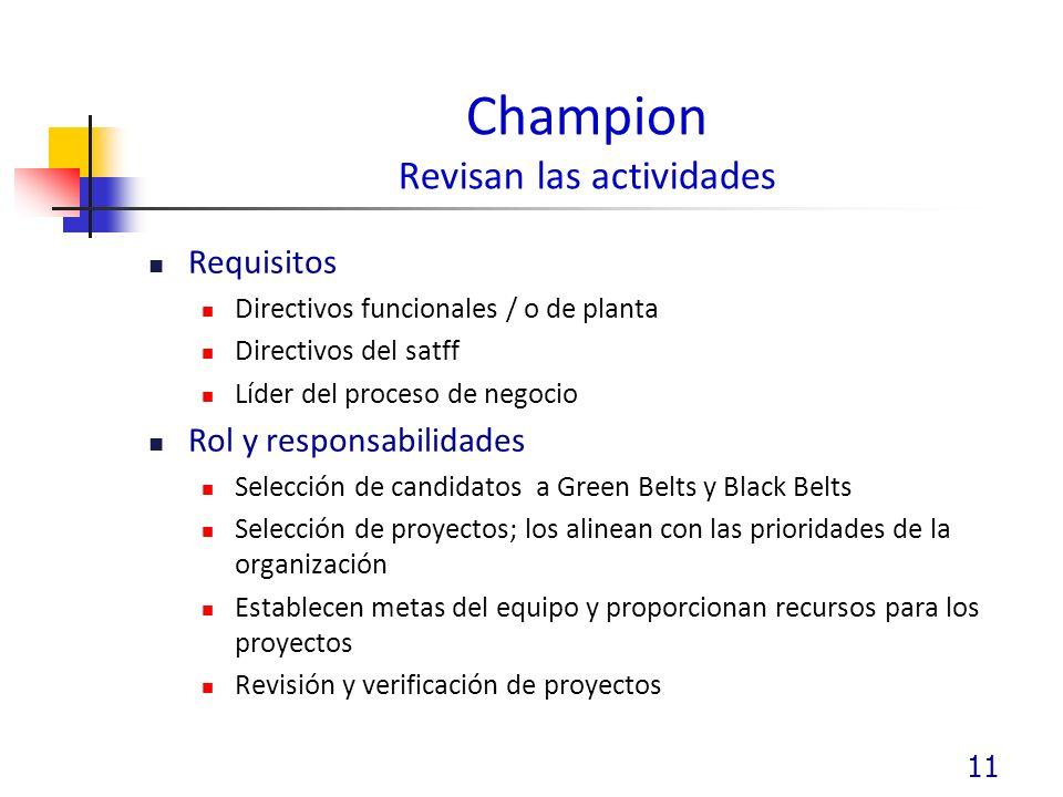 Champion Revisan las actividades