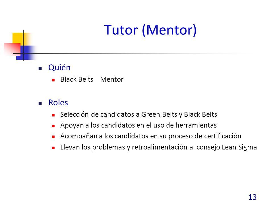 Tutor (Mentor) Quién Roles Black Belts Mentor
