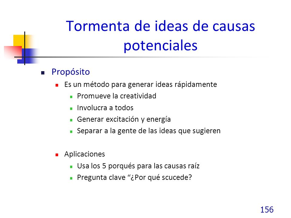 Tormenta de ideas de causas potenciales