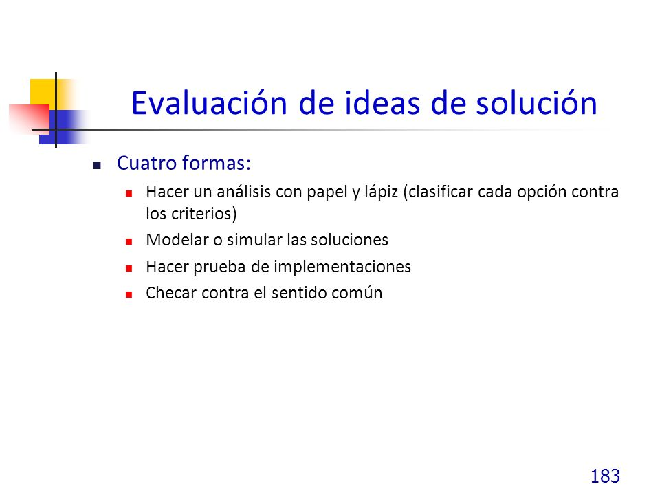 Evaluación de ideas de solución