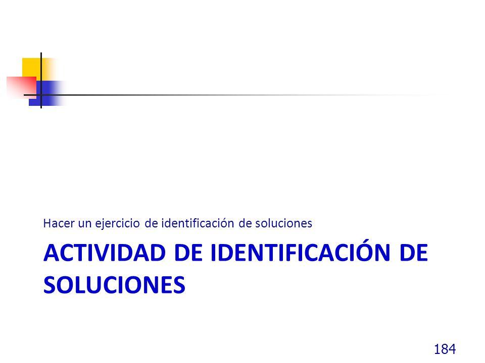 Actividad de identificación de soluciones