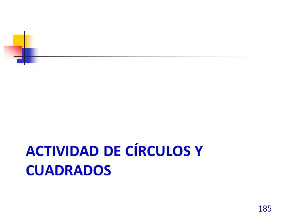 Actividad de círculos y cuadrados