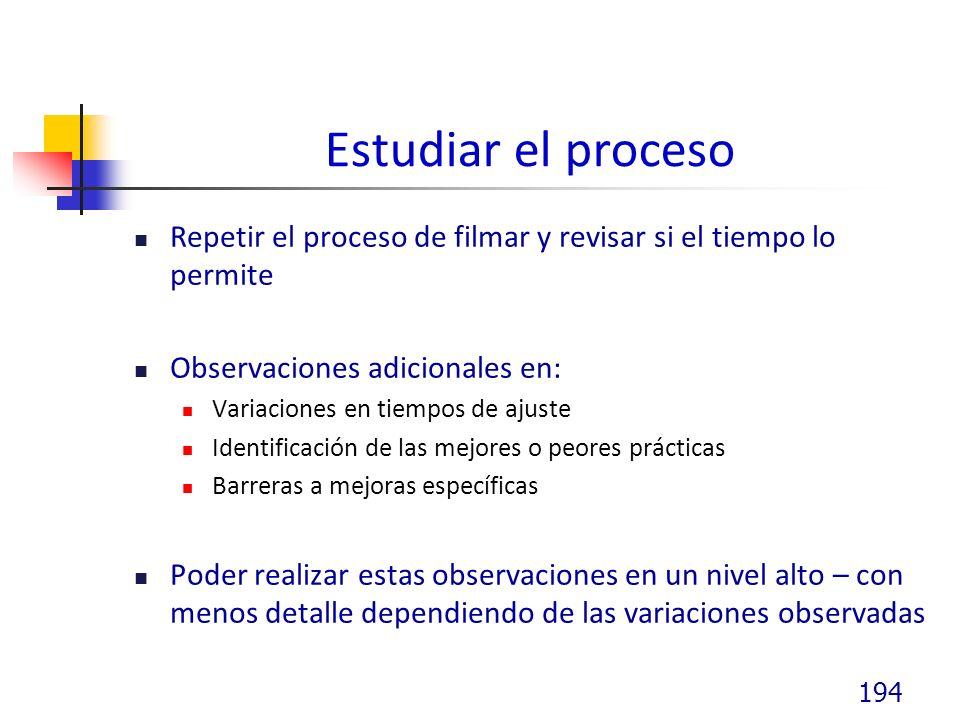 Estudiar el proceso Repetir el proceso de filmar y revisar si el tiempo lo permite. Observaciones adicionales en: