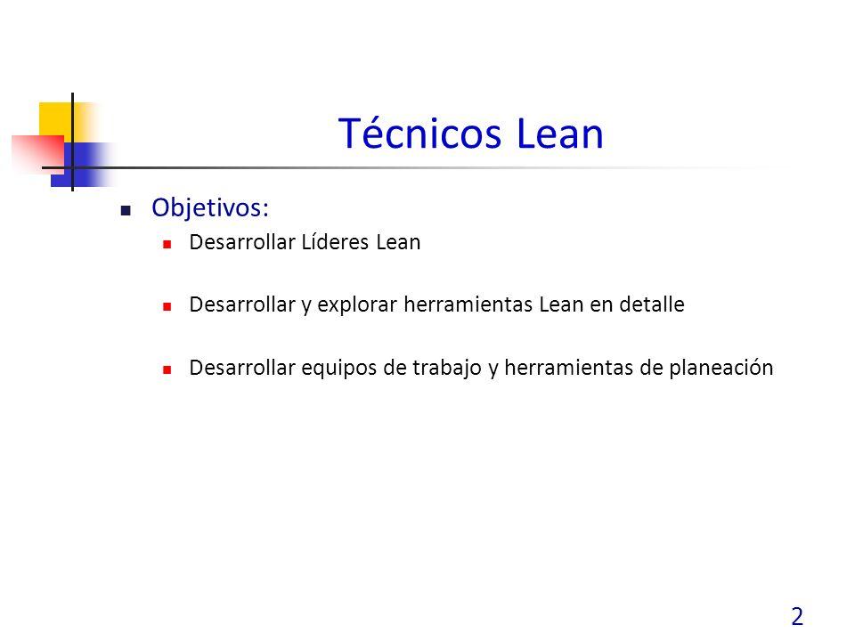 Técnicos Lean Objetivos: Desarrollar Líderes Lean