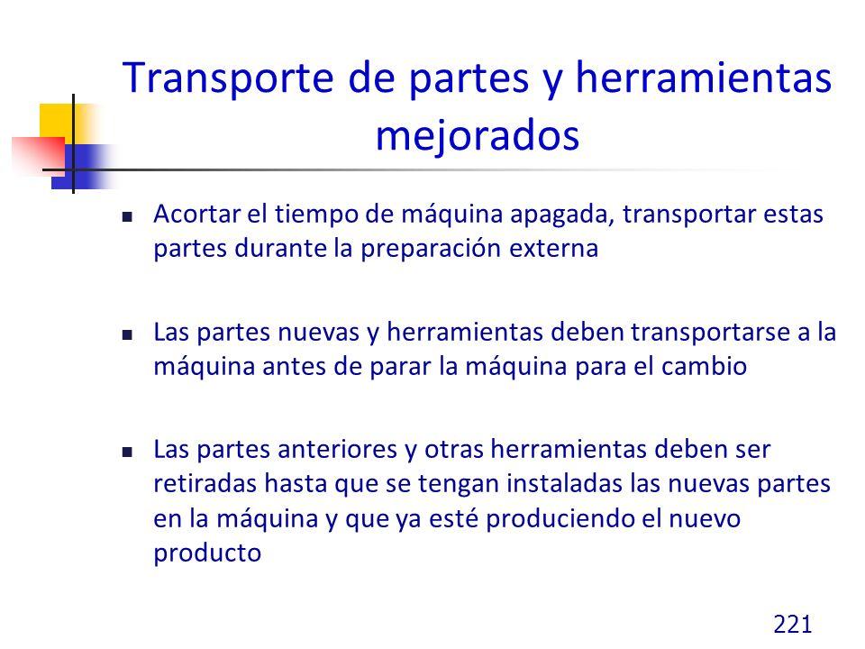 Transporte de partes y herramientas mejorados