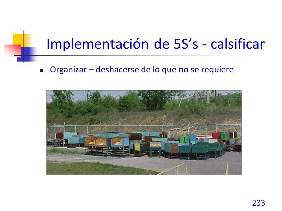 Implementación de 5S's - calsificar