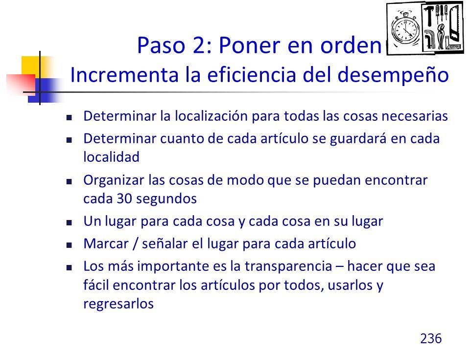 Paso 2: Poner en orden Incrementa la eficiencia del desempeño