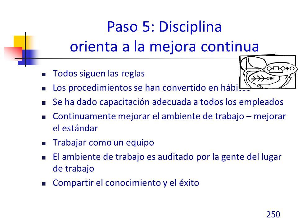 Paso 5: Disciplina orienta a la mejora continua