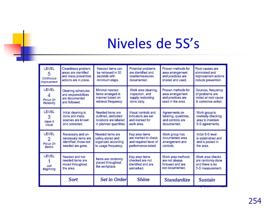Niveles de 5S's