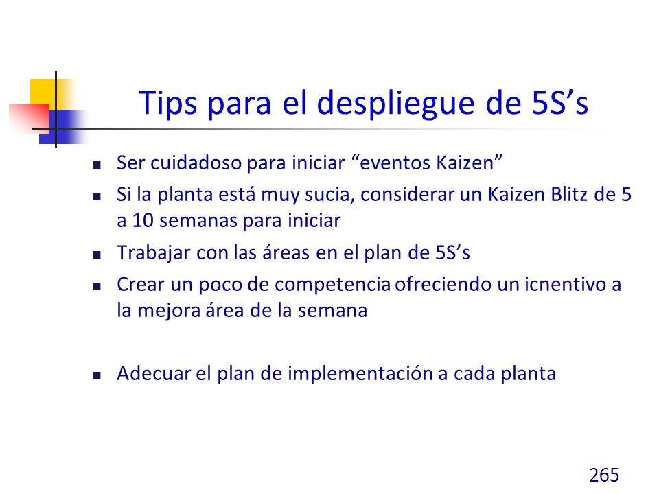 Tips para el despliegue de 5S's