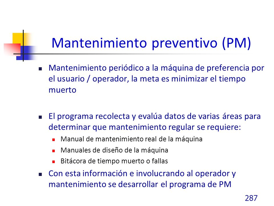Mantenimiento preventivo (PM)