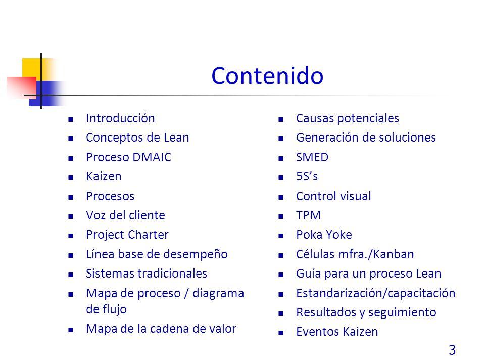 Contenido Introducción Conceptos de Lean Proceso DMAIC Kaizen Procesos