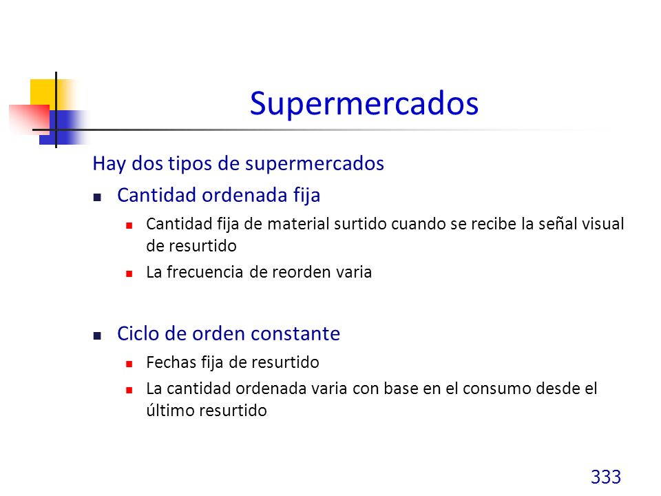 Supermercados Hay dos tipos de supermercados Cantidad ordenada fija