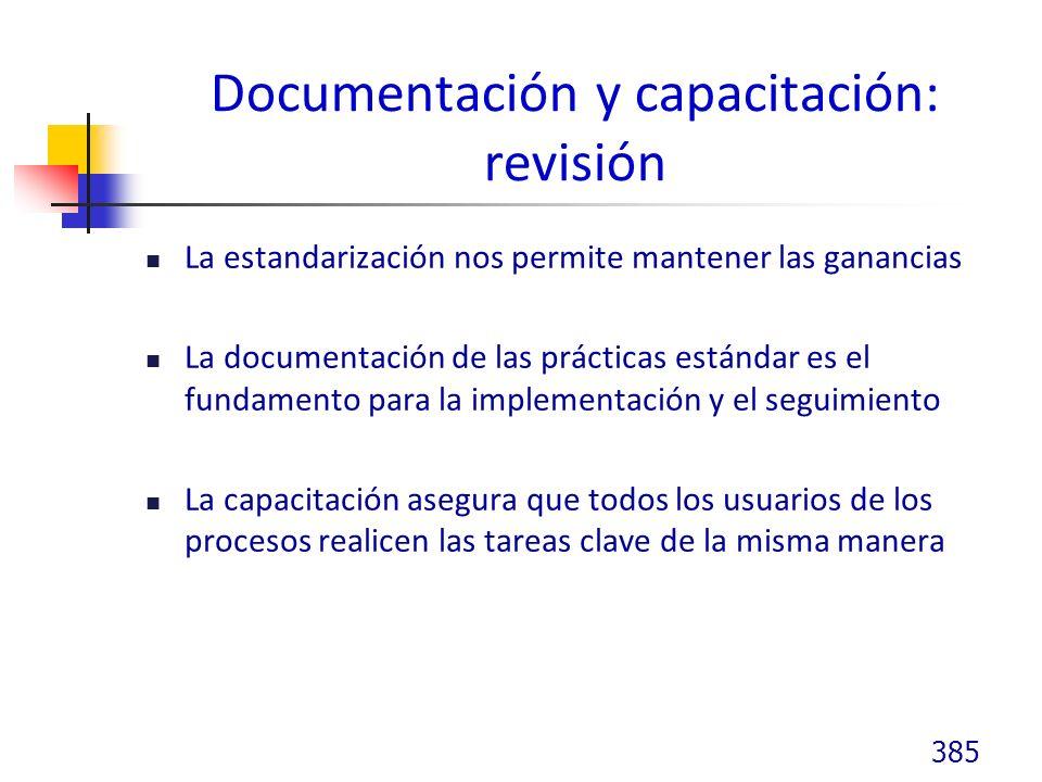 Documentación y capacitación: revisión