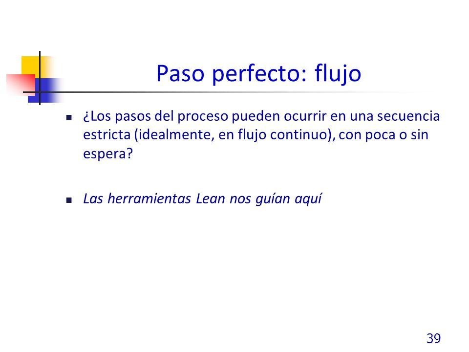 Paso perfecto: flujo ¿Los pasos del proceso pueden ocurrir en una secuencia estricta (idealmente, en flujo continuo), con poca o sin espera