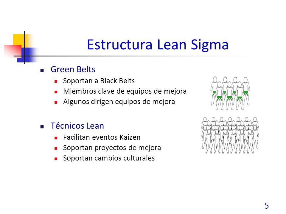 Estructura Lean Sigma Green Belts Técnicos Lean Soportan a Black Belts