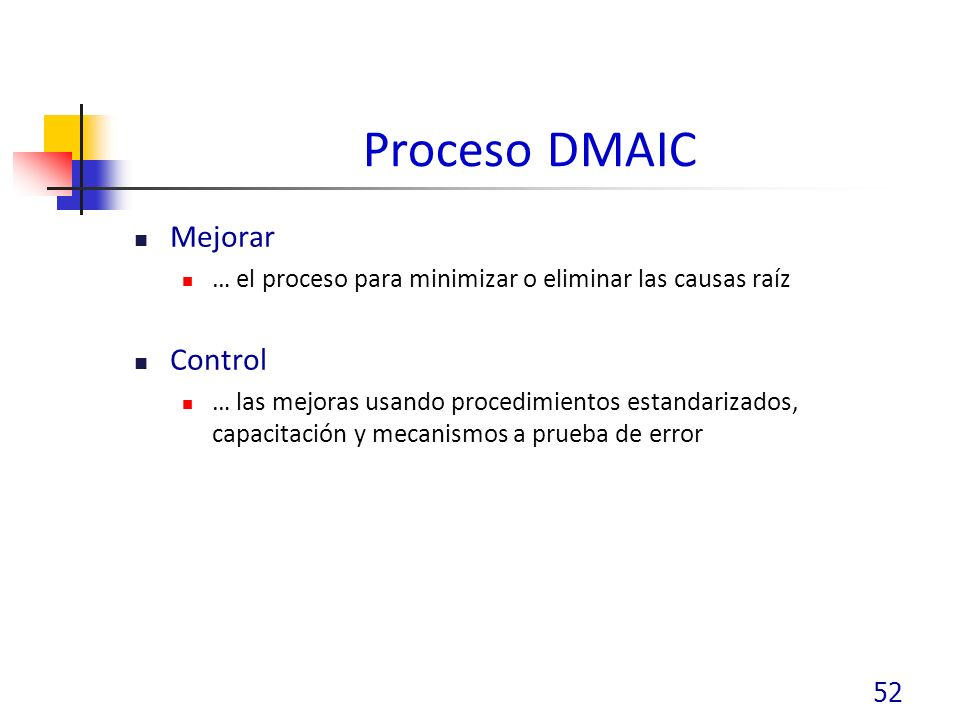Proceso DMAIC Mejorar Control