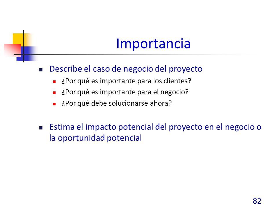 Importancia Describe el caso de negocio del proyecto